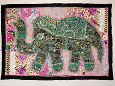 HANDMADE ELEPHANT PATCHWORK WALL HANGING BEAD EMBROIDERED TAPESTRY INDIA X94