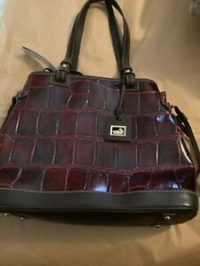 NEW Dooney & Bourke Maroon Croc Embossed Leather Double Strap Tassel Bag