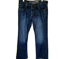 Old Navy Famous Mens Jeans Size 38x32.5 Boot-Cut 100% Cotton Dark Blue Wash
