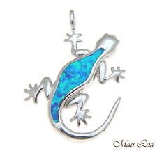 PLATA DE LEY 925 rodio HAWÁI Gecko Lagarto Azul Ópalo Colgante