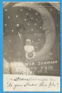 Shawano County Fair Wisconsin, Man, Child, Man In Moon RPPC Postcard Early 1900s