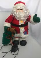 """Animated Santa Clause Santa's Best Sack of toys 17"""" tall motorized plug in"""