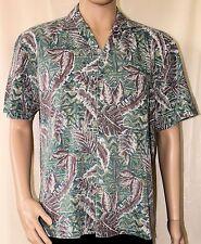 Paradise Style Hawaiian Shirt Green with Brown Leaves Aloha