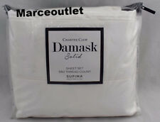 Charter Club Damask Solid 550 Thread Count QUEEN Sheet Set White