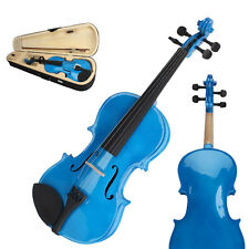 New 3/4 Size Kid Basswood Acoustic Violin Fiddle with Case Bow Rosin Dark Blue
