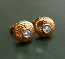 Alte handgearbeitete 750er Art Déco GOLD-OHRRINGE m. BRILLANT •Diamantohrstecker
