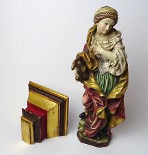 Religiöse Holzfigur Hl. Katharina von Alexandrien m. Wandkonsole, geschnitzt