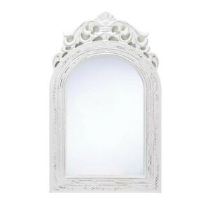 """Vintage Look Arched Top Wood Framed Wall Mirror, Weathered White Finish 9x13"""""""