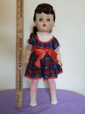 "Vintage 15"" Plastic Vinyl Doll Dark Brown Hair Ponytail Red Blue Plaid Dress"