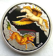 Tuvalu 2014 Pegasus Qilin Dollar 1oz Colour Silver Coin,Proof