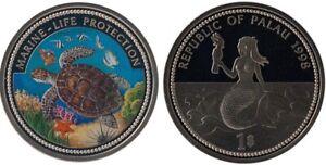 Palau 1 dollar 1998 Turtle, mermaid