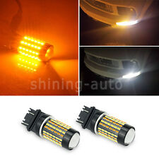 2x 3157 Dual Color White Amber Switchback LED Turn Signal Light Bulb car lamp