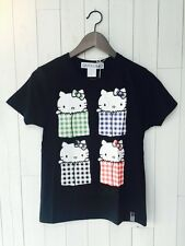 Japan Quomolo x Sanrio Hello Kitty Color Pocket Cotton T-shirt Brand New Black