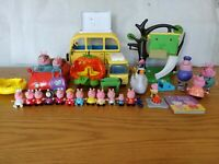Peppa Pig Bundle Campervan Treehouse Car Pumpkin Carriage Book & 16 Figures