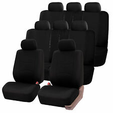 Black 3Row SUV Split bench Car Seat Covers Full Set Auto Bucket Air Bag Safe