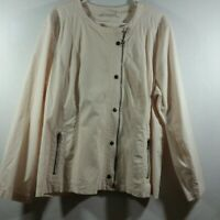 Chicos Womens Zip Front Button Front Jacket Size 4 XXL Light Peach