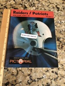 Oakland Raiders vs Patriots 1968 Program Pictorial Ex Cond NFL AFL HOF Al Davis