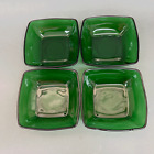Fire King Anchor Hocking Fruit Dessert Square Bowls Charm Forest Green Glass - 4