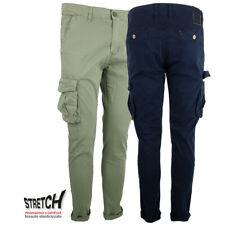 Pantaloni Cargo Uomo con Tasche Laterali Tasconi Cotone Slim Fit skinny Blu