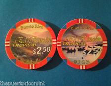 $2.50 EL RINCON TROPICAL Pool Room Private Casino Chip PUERTO RICO ficha Chipco