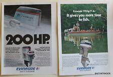 Evinrude 115 V-4, 200 V-6 Outboard Magazine Print Ads 1975 8 x 11