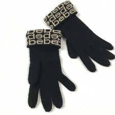 Bebe Knit Winter Gloves Black Logo Print Mittens