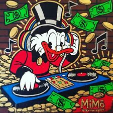 """Alec monopoly Handcraft Oil Painting on Canvas,""""Duck DJ"""",24×24IN"""