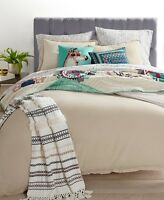 New Martha Stewart Full Queen Comforter Set Cotton Linen Tan Reversible 3 pc