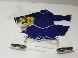 American Girl Blue Ice Figure Skating Outfit Set Pleasant Company Skates Flowers