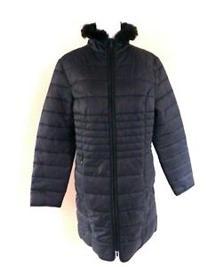Ladies Padded with Faux Fur Trim Collar- Black UK Size 16- NEW