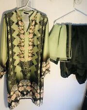 3 Pc Designer Silk XL/XXL Shalwar Kameez Pakistani/Indian I-Lace
