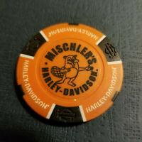 MISCHLER'S HD ~ WISCONSIN ~ (Orange/Black) Harley Davidson Poker Chip