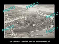 OLD LARGE HISTORIC PHOTO SINT MAARTENSDIJK NETHERLANDS TOWN AERIAL VIEW c1940 1