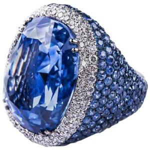 40+ Carat Ceylon Sapphire & White Round CZ Beautiful Engagement 925 Silver Rings