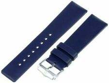22mm Hirsch Pure Mens Blue Smooth Caoutchouc Rubber Dive Watch Band Strap