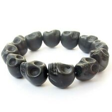 Black Howlite Turquoise Skull Tibet Buddhist Prayer Beads Mala Bracelet