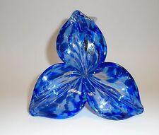NEW GENUINE MURANO MULTI COBALT BLUE+CLEAR,3-PETAL ART GLASS FLOWER VASE-ITALY