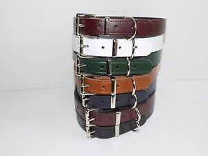 Real leather dog collars with heavy duty buckle 7 colours available 20mm