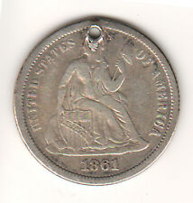 1861 CIVIL WAR Silver ANTIQUE Victorian FOLK ART LOVE TOKEN Engraved Coin Charm