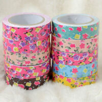 1 Roll Flower Washi Tape Decorative Sticky Paper Fabric Tape Adhesive Craft DIY