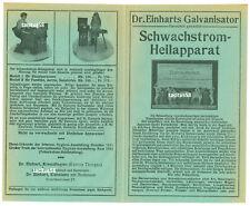 Reklame Elektrohomöopathie Dr Einhart Galvanisator Schwachstrom-Heilapparat 1915