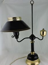 VINTAGE TABLE STUDENT LAMP,BRASS,WHITE GLASS & BLACK TOLE SHADE