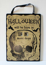 Skeleton Skull Vintage Inspired Count Down To Halloween Calendar Wall Plaque NEW