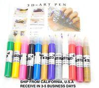 12 Colors 3D Finger Nail Paint Pen UV Gel Acrylic Nail Art Polish