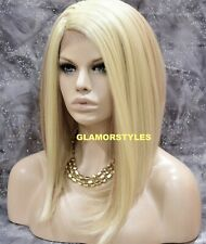 Human Hair Blend Hand Tied Monofilament Lace Front Full Wig Bob Blonde Mix NWT
