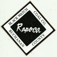 Rapoca Black Watch Coal Company Vintage Unused Mining Hard Hat Decal Sticker