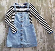 JOHNNIE B BODEN Black White Stripe Long sleeve shirt Denim Skirtall Dress set 11