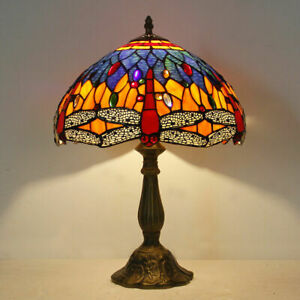 Northern Europe Tiffany Style Blue Dragonfly Stained Glass Table Reading Lamp