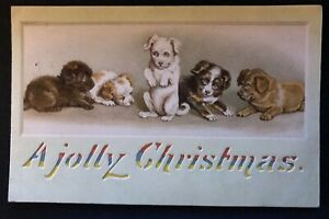 Rare~HTL Hold To Light ~A Jolly Christmas~Dogs~Puppies~Antique Postcard-c436