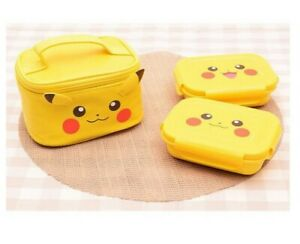 Pokemon Pikachu 2 Layers Bento Lunch Box Food Container With Bag Yellow